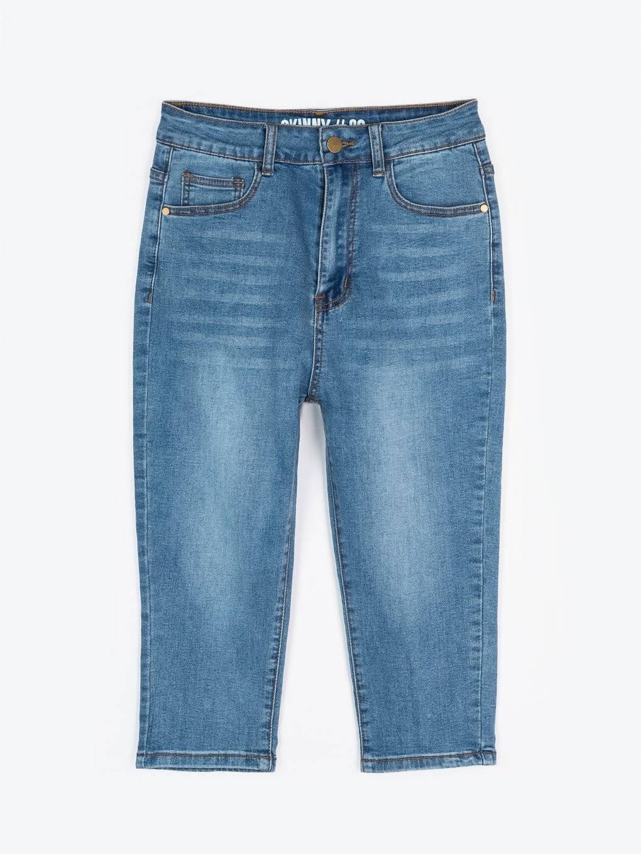 Trojštvrťové džínsy skinny s vysokým pásom