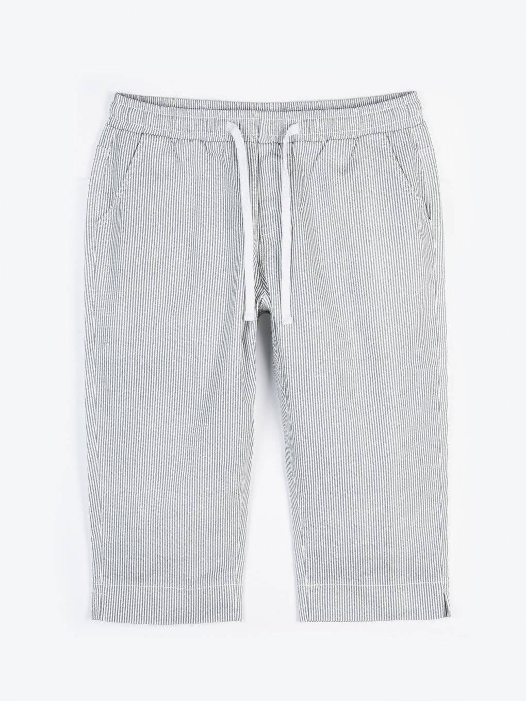 3/4 proužkované strečové kalhoty