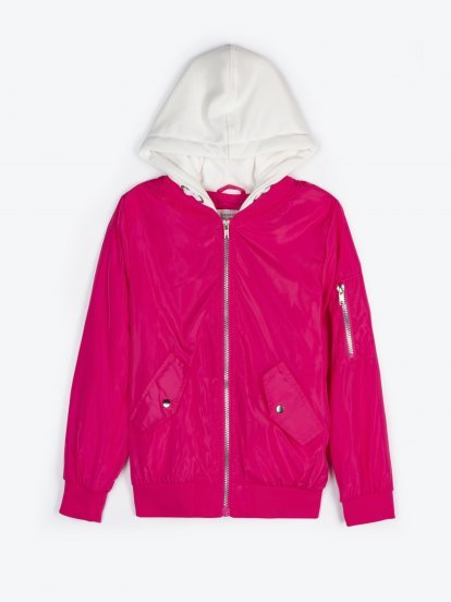 Bomber jacket with contrast hood