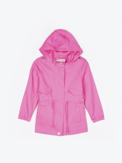 Cotton parka with patch on back