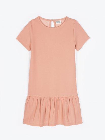 Knit dress with ruffle skirt