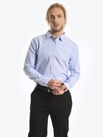 Basic bawełniana koszula oksfordzka slim fit