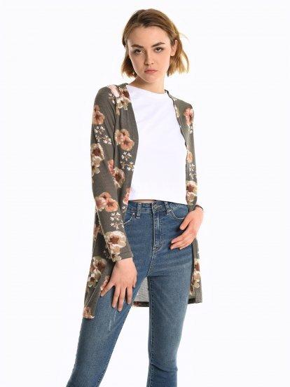 Flower print cardigan