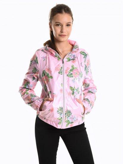 Floral print jacket with hood