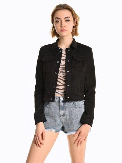 Faux suede boxy jacket