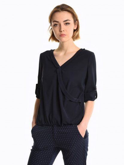 Loose fit wrap blouse