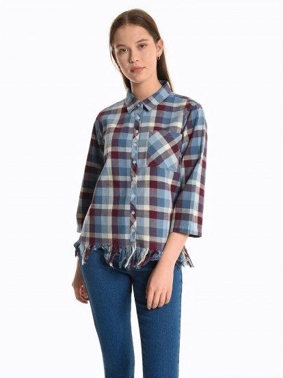 Plaid shirt with frayed hem