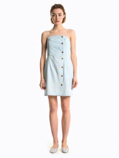Bavlnené šaty so zapínaním na gombíky a s vreckami