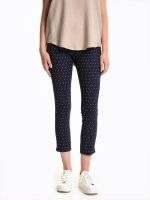 7/8 leg polka dot print slim fit trousers