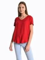 Basic viscose v-neck blouse