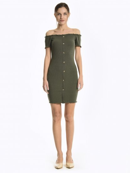 Off-the-shoulder button down dress