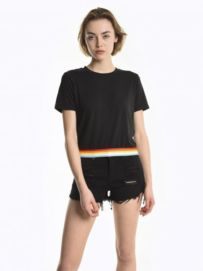 Top with striped trim