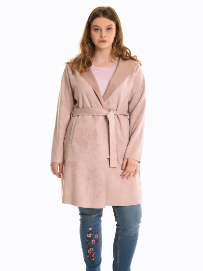 Faux suede hooded coat with belt