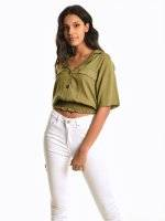 Cropped blouse with cargo pockets