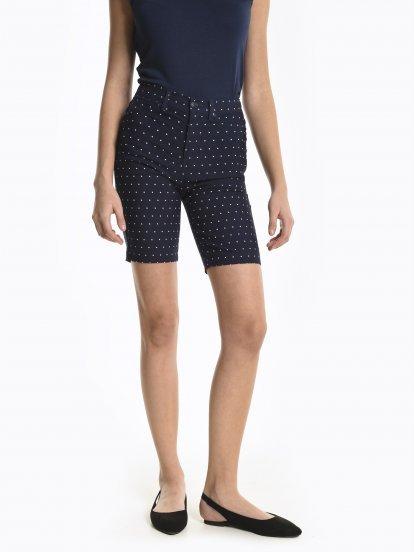 Polka dot print slim fit shorts