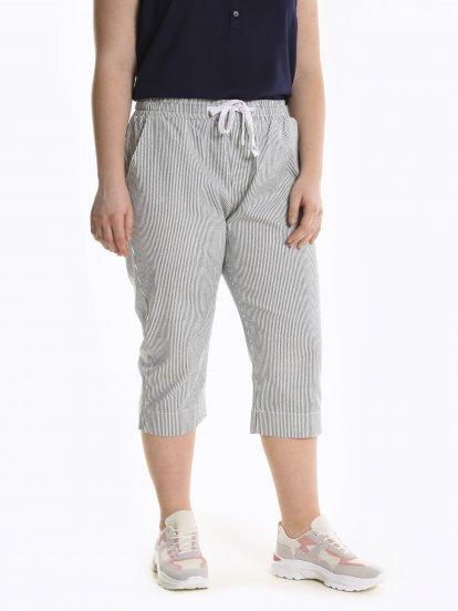 3/4 leg striped stretch trousers