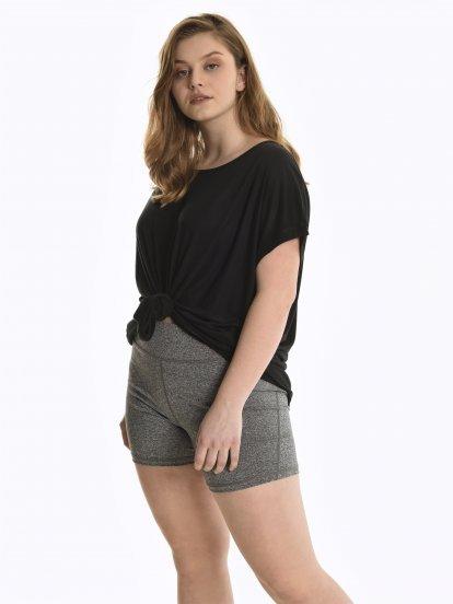 Marled skinny shorts