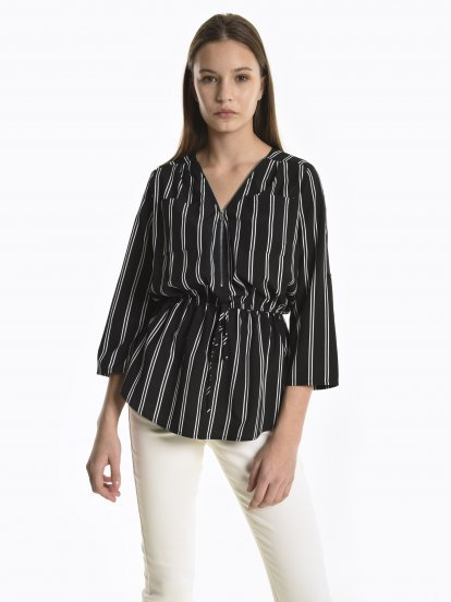 Striped blouse with zipper detail