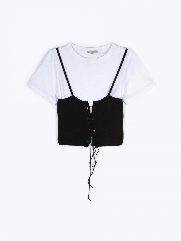 Crop top with corset detail