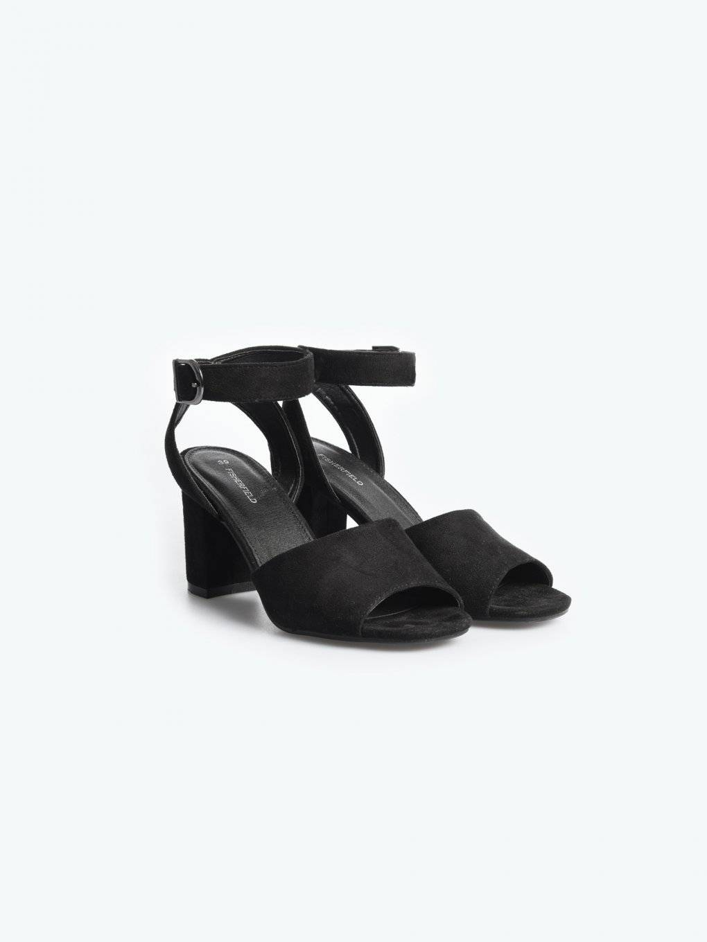 Faux suede block heel sandals