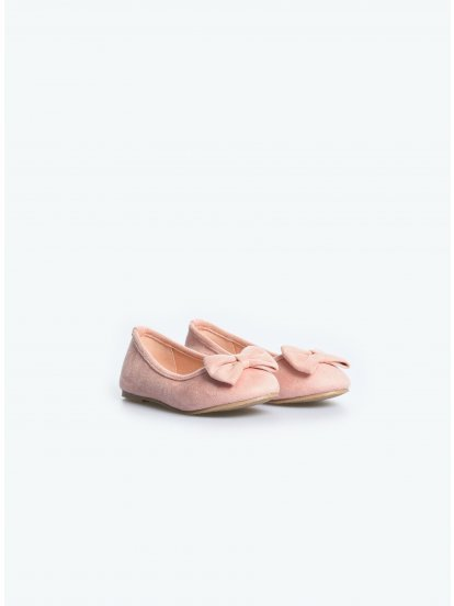 Faux suede ballerinas with bow