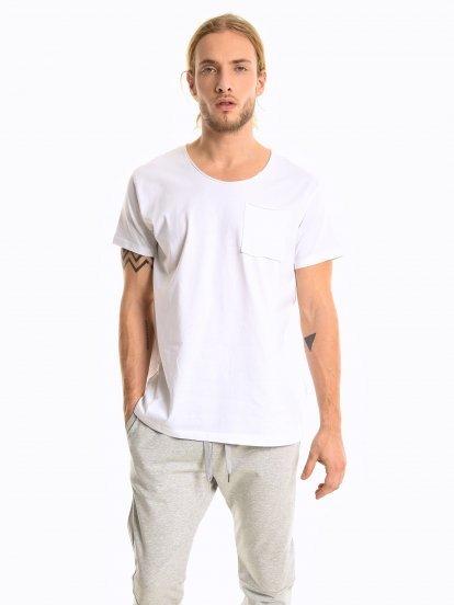 Basic koszulka slim fit z kieszenią na piersi