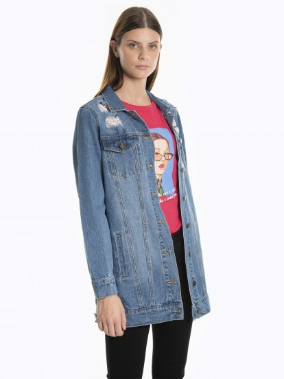 Oversized damaged denim jacket