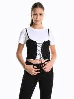 Crop top with corset detail