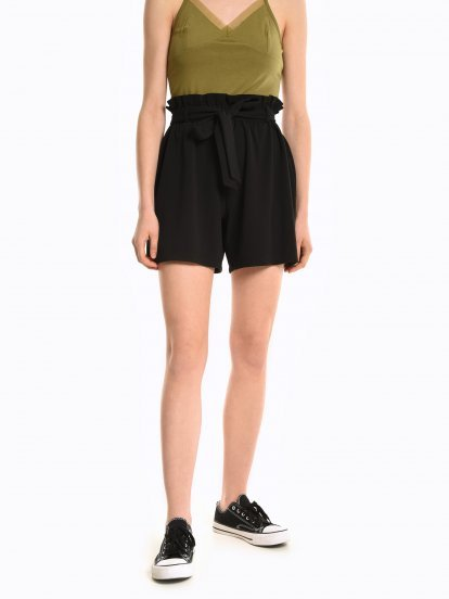 High waisted paperbag shorts