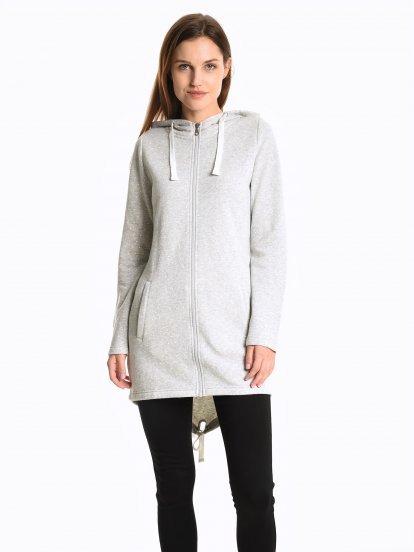 Polka dot print longline hoodie