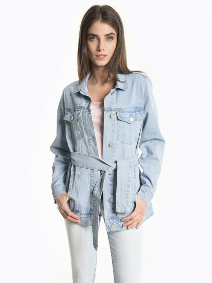 Prolonged denim jacket with belt