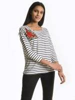 STRIPPED TOP WITH EMBROIDERY