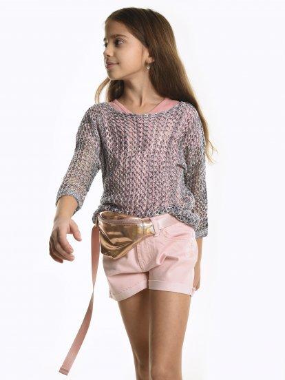 Colourful fishnet jumper