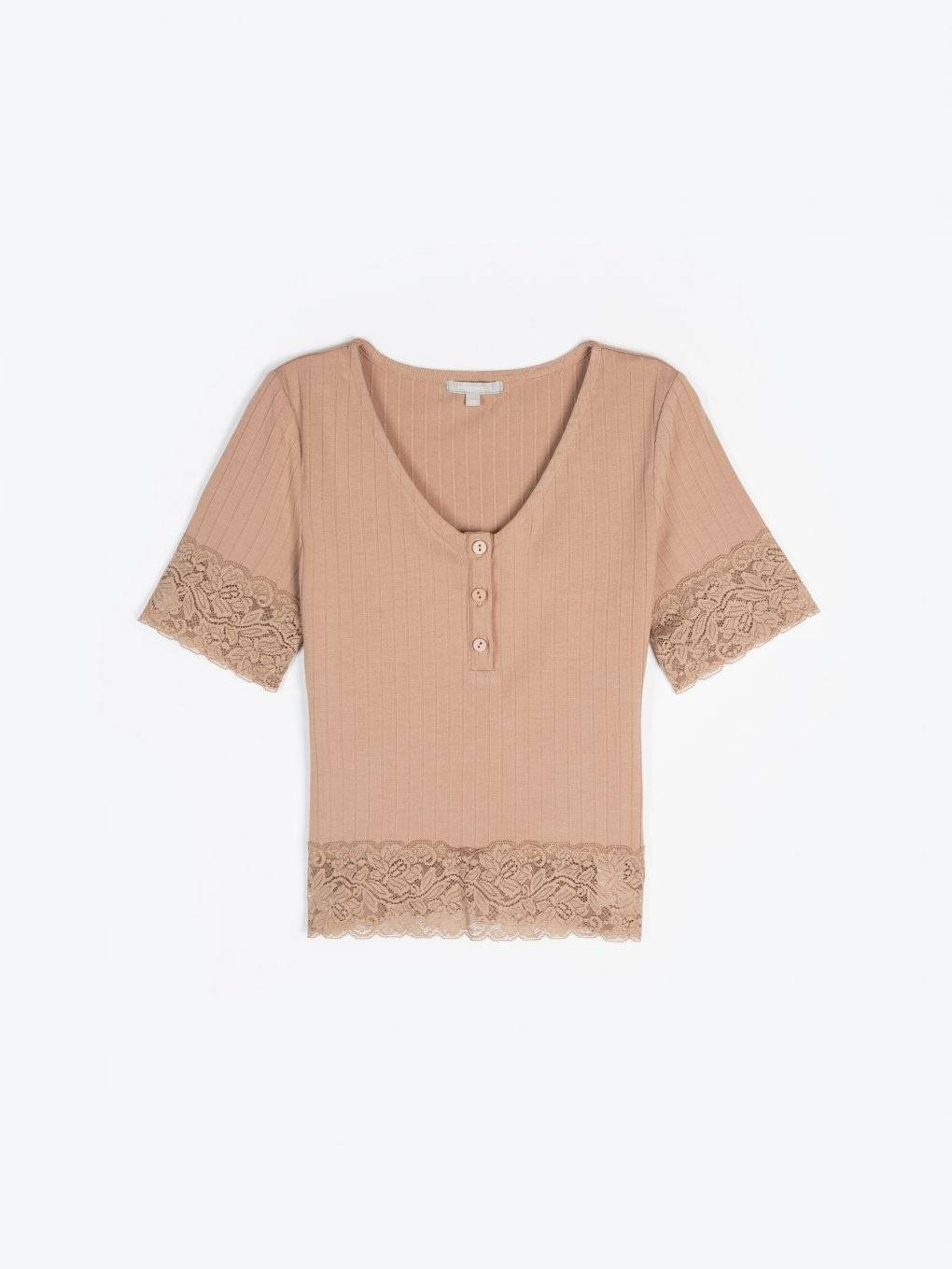 Top with lace and buttons