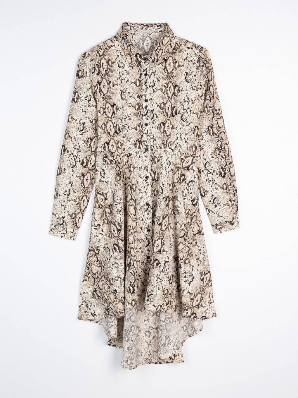 Snakeskin print shirt dress