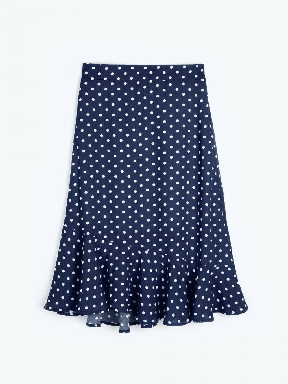 Polka dot print skirt with ruffle