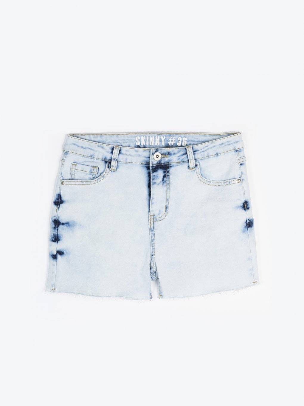Denim shorts with raw hems