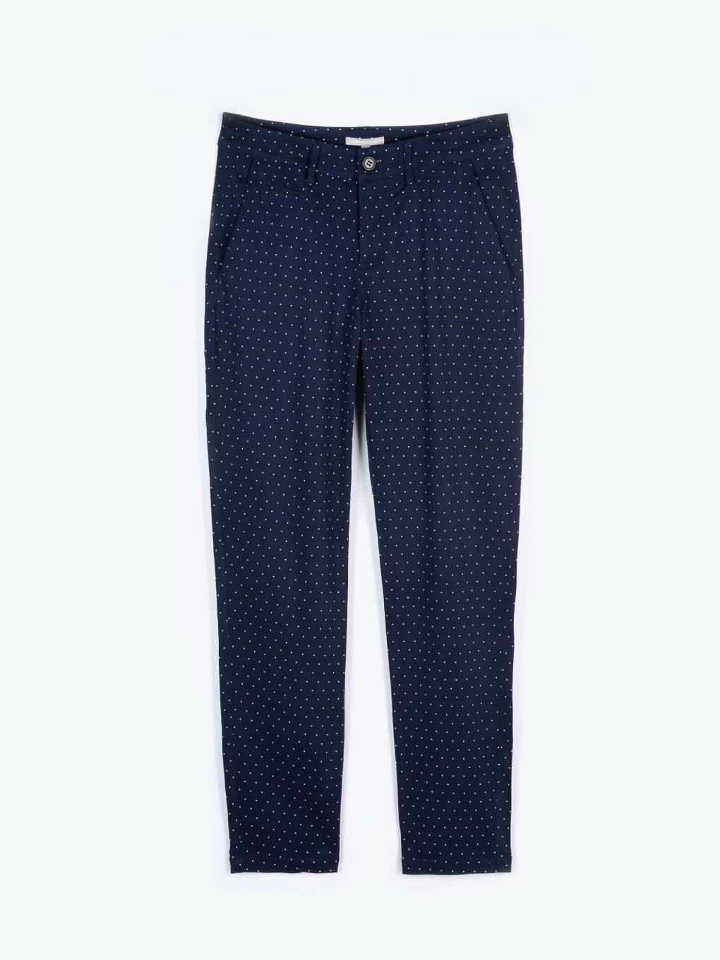 Polka dot print straight fit trousers