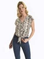 Snakeskin print blouse top