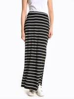 Maxi striped skirt with side slits