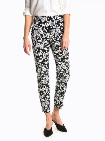 Flower print slim fit trousers