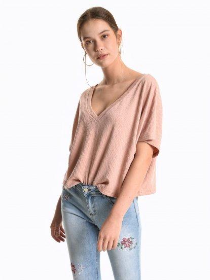 Oversized v-neck top