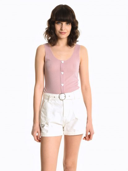 Top with heart shaped buttons
