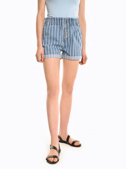 Paperbag cotton denim shorts
