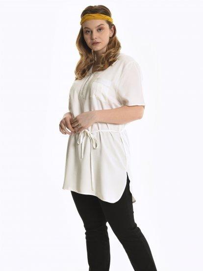 Viscose tunic with zipper