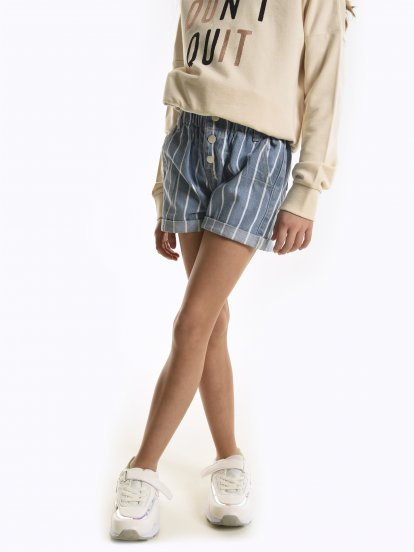 Paperbag cotton denim shorts