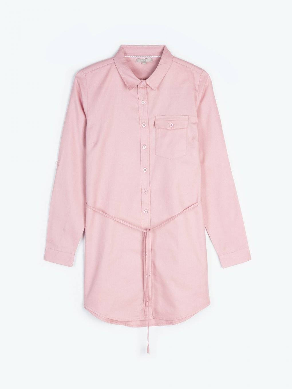 Longline cotton blouse with belt