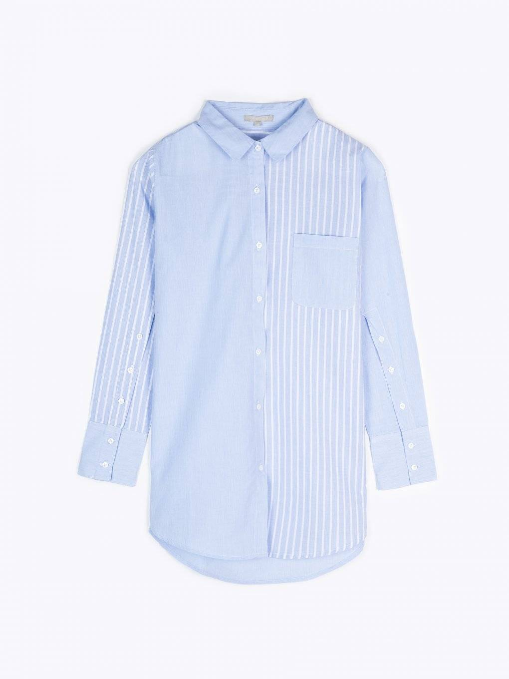 Striped cotton blouse with buttoned sleeves