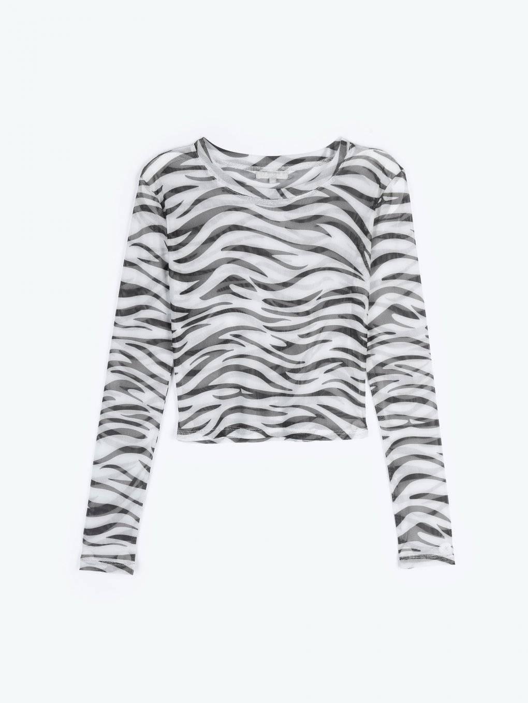Animal print mesh crop top