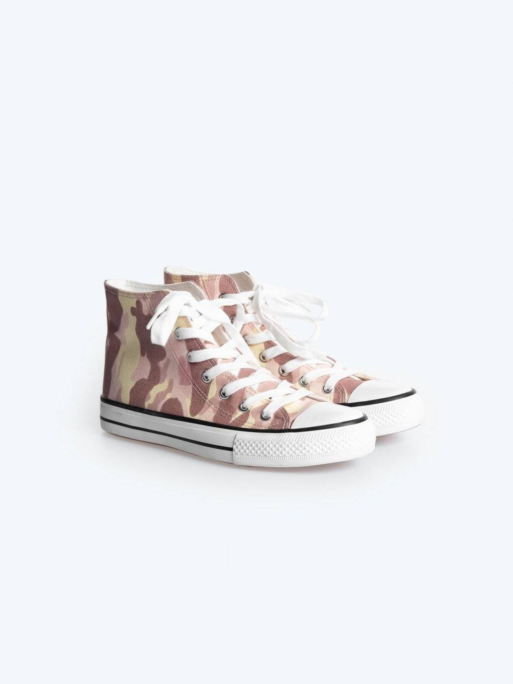 Pink camo hi-top sneakers